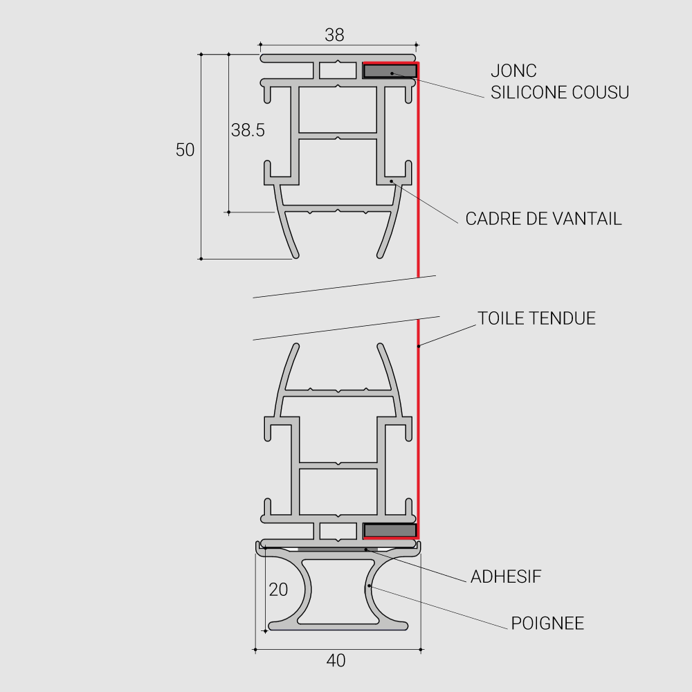 Schéma en coupe d'un vantail de porte de placard